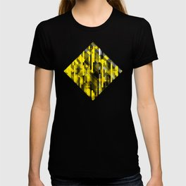 abstract composition in yellow and grays T-shirt