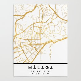 MALAGA SPAIN CITY STREET MAP ART Poster