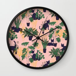 Cats and Houseplants Wall Clock