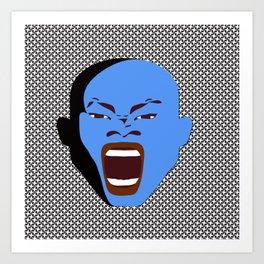 blue man head design digital art male face shouts zollione store art Art Print