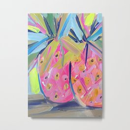 Pineapples with Yellow Metal Print