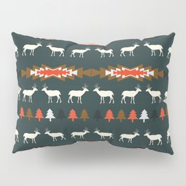 Ethnic deer pattern with Christmas trees Pillow Sham