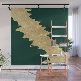 Stylish forest green gold glitter abstract brushstrokes Wall Mural