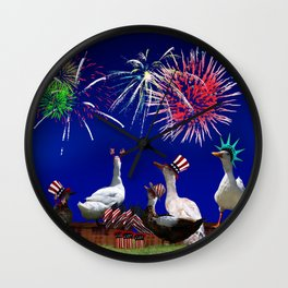 Ducky Celebration for the 4th of July Wall Clock