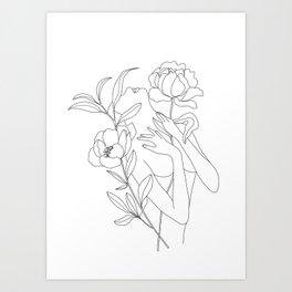 Minimal Line Art Woman with Peonies Art Print