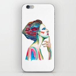 Colorful ink drawing of a women, ink art, girl illustration, modern women art iPhone Skin