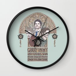 Carry On My Wayward Son (Castiel, Sam and Dean Winchester) Wall Clock
