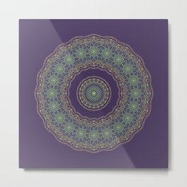 Lotus Mandala in Dark Purple Metal Print