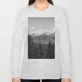 Snow Capped Sierras - Black and White Nature Photography Long Sleeve T-shirt