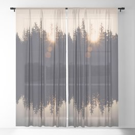 Wooded Lake Reflection  - Nature Photography Sheer Curtain