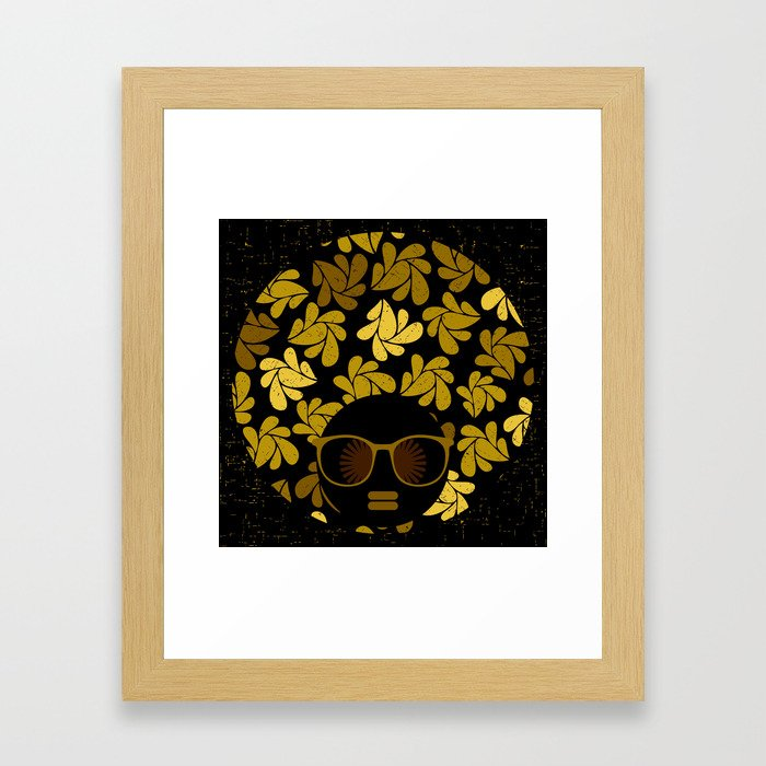 Afro Diva : Gold Framed Art Print