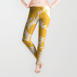 Yellow Cats Pattern Leggings