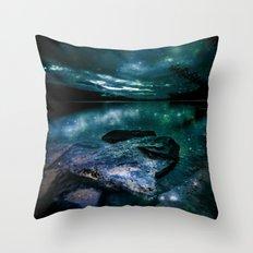 Magical Mountain Lake Teal Throw Pillow