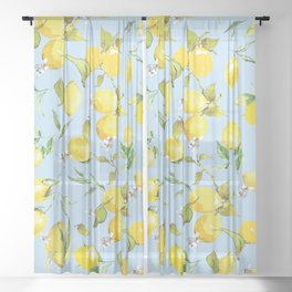 Watercolor lemons 10 Sheer Curtain