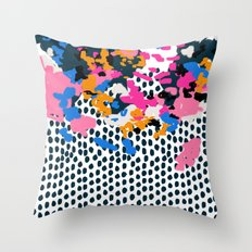 Kenzi - abstract painting minimal hot pink blue dots color palette boho hipster decor nursery Throw Pillow