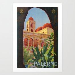 vintage 1920s Palermo Sicily Italian travel ad Art Print