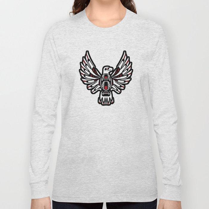 Digital Black and White Eagle Totem Design Long Sleeve T-shirt