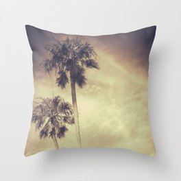 Sepia Toned Retro Palms Throw Pillow