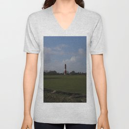 Light House on Pellworm from Afar Unisex V-Neck