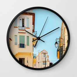 Cannes City Print, French Riviera, Summer Travel Print, Charming Exotic Architecture, Historic Houses Downtown Cannes City, Urban Details, Travel France Wall Clock