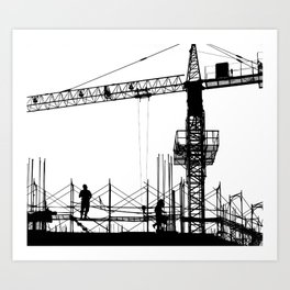 Construction Site Silhouette Art Print
