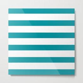 Teal & White Stripes | Digital Design Metal Print