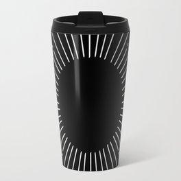 Sunburst Moonlight Silver on Black Travel Mug