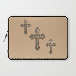 Western Crosses Barn Wood Rope and Concho Print Laptop Sleeve
