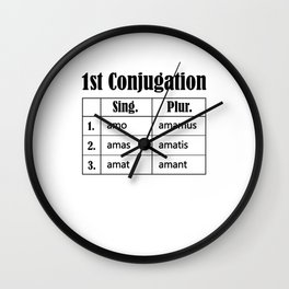 Latin Language Conjugation Amare Teacher Student  Wall Clock