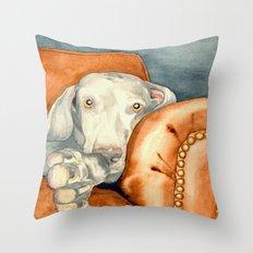 Jade Weimaraner Throw Pillow