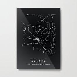 Arizona State Road Map Metal Print
