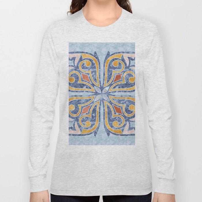 Blue Oriental Tile 04 Long Sleeve T-shirt
