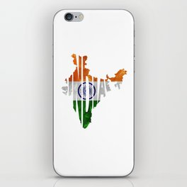 India World Map / Indian Typography Flag Map Art iPhone Skin