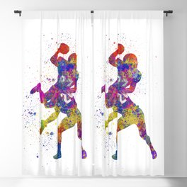 American Football players 07 in watercolor Blackout Curtain