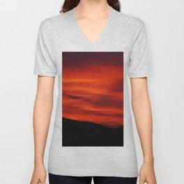 Red Sky Black Hills Sunset Landscape Unisex V-Neck