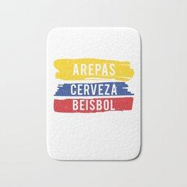 Arepas Cerveza Beisbol print Colombian baseball fan Gift Bath Mat