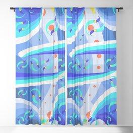 Blue Move Sheer Curtain