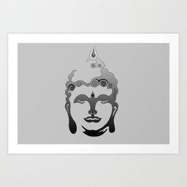 Buddha Head grey black Design Art Print