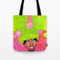 nicki Tote Bags featuring Pink Face by KeishaC