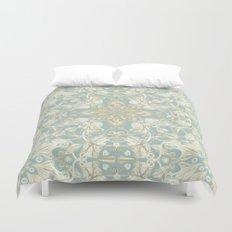 Soft Sage & Cream hand drawn floral pattern Duvet Cover