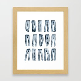 Many Jeans Framed Art Print