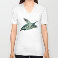 "biology V-neck T-shirts featuring ""Moonlit"" - Green Sea Turtle, Acrylic by Amber Marine"