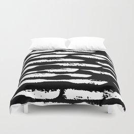 Paint Swipe White on Black Duvet Cover