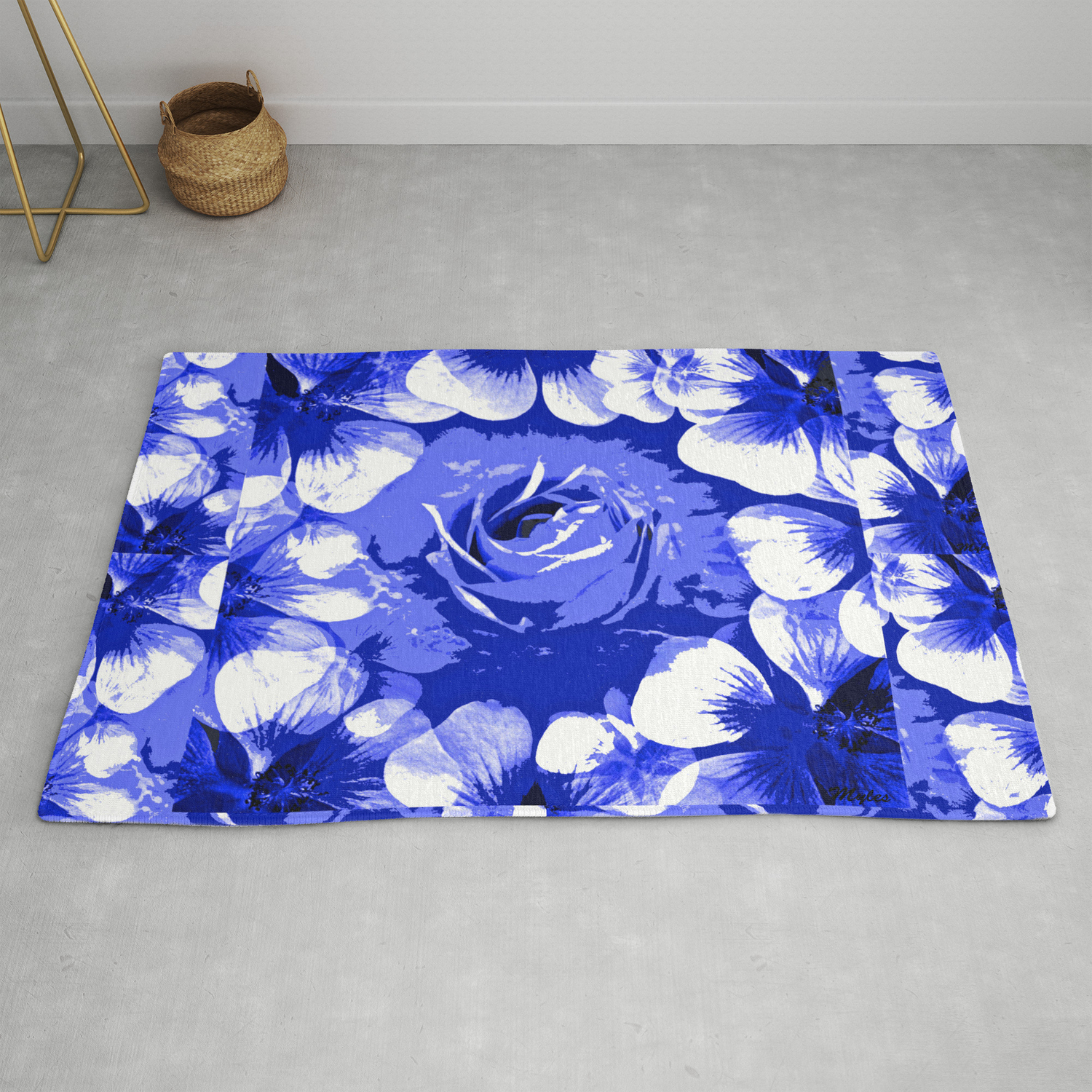 Roses Blue And White Toile 2 Rug By