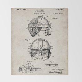 Welding Goggles Patent - Welder Art - Antique Throw Blanket