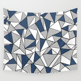 Abstraction Lines with Navy Blocks Wall Tapestry