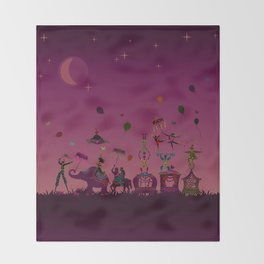 colorful circus carnival traveling in one row at night Throw Blanket