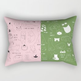 Cute Cat Doodles on pink and green Rectangular Pillow