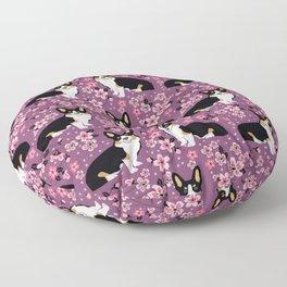 Welsh corgi tricolored cherry blossoms botanical florals japanese flowers dog breed corgis Floor Pillow