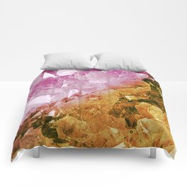 Pink & Gold Crystal Geode Comforters